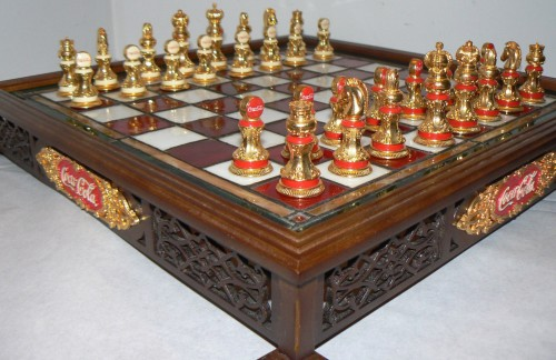Franklin Mint Coca Cola Stained Glass Chess Set Accented