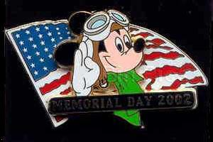 Disney Mickey Pilot Memorial Day USA Flag Pin/Pins