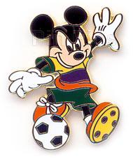 Disney Mickey Mouse kicking a soccer ball pin/pins