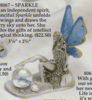 Angel Fairy Blue Wings Hand Painted Pewter Figurine