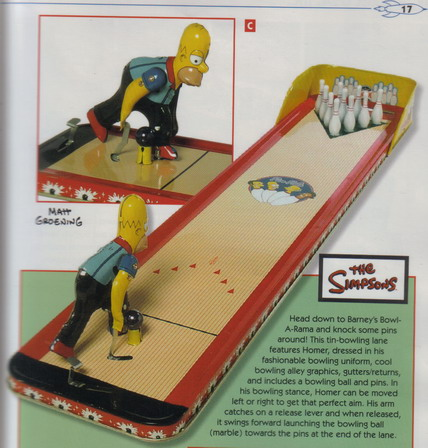 Bowling Game Simpsons Bowl a Rama Tin Toys