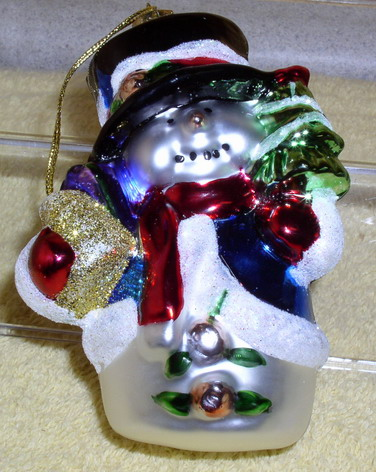 Brown Glass snow man ornament cut rare