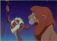 Disney Lion King Simba & Rafiki Monkey Lithograph