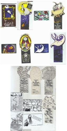Nightmare Before Christmas Set of 8 Bookmarks Rare