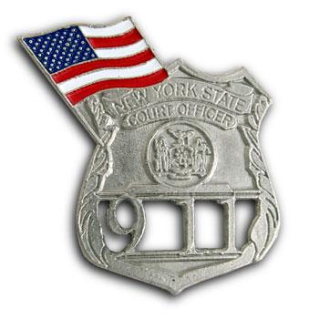 9/11 New York Commerative Silver Lapel USA Flag Shield Pin Badge