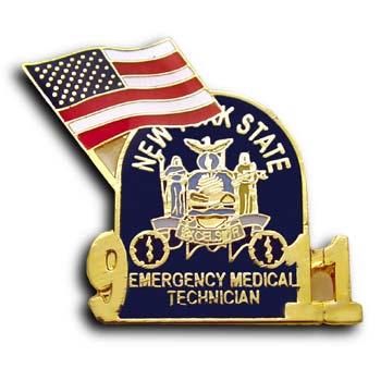 9/11 Medical Emergency Commerative Lapel USA Flag Pin/Pins Badge