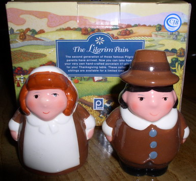 Thanksgiving Salt & Pepper Pilgrim Children RARE