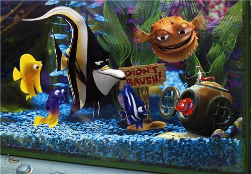 Disney pixar finding nemo the tank gang gold seal for Aquarium decoration sealant
