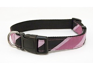Ribbon on Nylon Pink & Black Candy Stripe Dog Collar