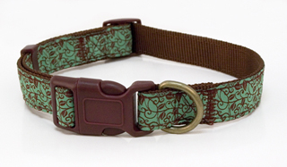 Tranquility Green Dog Collar - Ribbon on Nylon