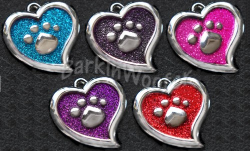 Sparkle Paw Hearts Pet ID Tags- 5 colors
