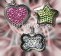 Animal Stars Fully Jeweled Swarovski Crystal Dog Cat Pet ID Tags - Heart, Bone, or Star - Engraved