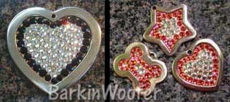 Animal Stars Swarovski Crystal Outline & Fill Dog Cat Pet ID Tags - Heart, Bone, or Star - Engraved