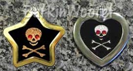 Animal Stars Jolly Roger Bones -  Swarovski Crystal Dog Cat Pet ID Tags - Engraved