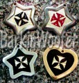 Maltese Cross Pet ID tags - Black, red, or inverse cross with Swarovski Crystals