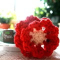 Hand Crocheted Dog Collar Flower - Candy Apple - Collar Accessory