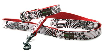 Mi Corazon (My Heart) Dog Collar and Leash Set by Mimi Green - Standard or Martingale