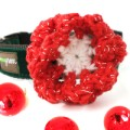 Hand Crocheted Dog Collar Flower - Christmas Holiday Tinsel - by Mimi Green
