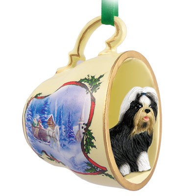 Shih Tzu (Black & White) Tea Cup Sleigh Ride Holiday Ornament