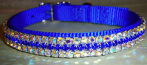 Royal Blue Nylon Dog Collar -One for the Guys - Custom Made with Swarovski Crystals