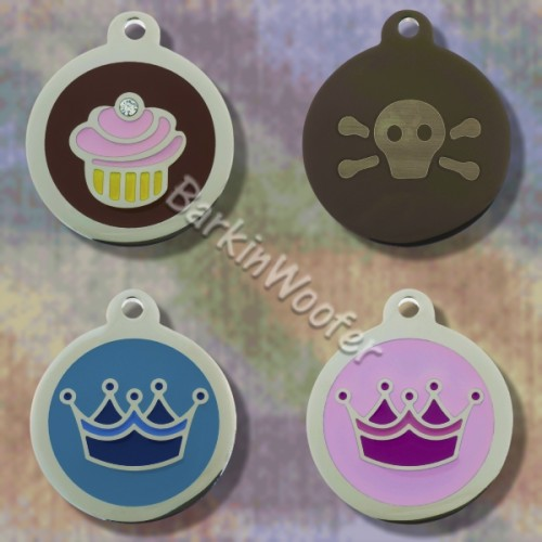 Megatags Cupcake, Crown, Skull & Crossbones Pet ID Tags