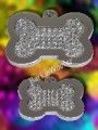 MegaTags Crystal Bone Pet ID Tags - Surgical Steel - 2 Sizes