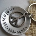 Peace - Hand-stamped Aluminum Pet ID tag with Peace Sign