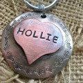 Hollie's Heart - Hand Stamped XLarge Pet ID Tag - Copper and Nickel Silver