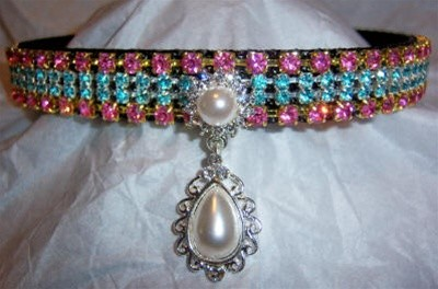 Pearl of Wisdom  - Custom Jeweled Black Nylon Dog Collar - Rose & Teal Crystals