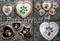 Paw Print painted pet ID tags with coordinating Swarovski Crystals