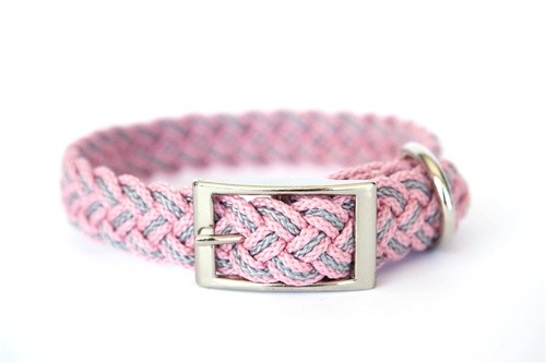 Pink and Grey Nylon Braided Dog Collar