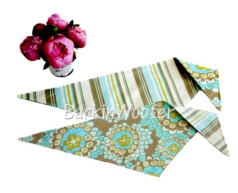 Reversible Stripe and Flowers Dog Bandana by Kiss My Mutt - Teal and Olive