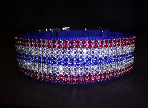 Colors of Independence - Custom Jeweled Nylon Dog Collar - Red, White & Blue Crystals - Big Dogs