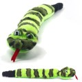 Invincibles Green Snake with 3 Squeakers - No Stuffing Dog Chew Toy