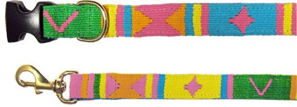 Seasons - Spring - Collar and Leash - Handwoven in Guatemala - Pink, Orange, Yellow, Blue, Green