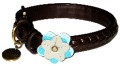 Petal Brown Iris Leather Dog Collar by Dosha Dog