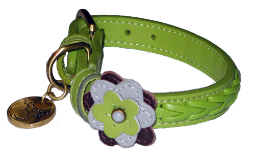 Petal Green Orchid - Leather Dog Collar by Dosha Dog
