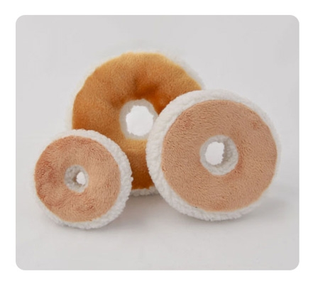 Bagel and Cream Cheese - 3 Sizes - Jewish Dog Plush Chew Toy