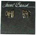 1993 Blossom Cat - Laurel Burch Post Earrings - Silver-tone
