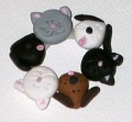 Pin - A Circle of Friends - Black,White, Gray,Brown Dogs & Cats - Handmade Clay