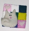 Pin - Quilt with a Cats - Pink, White, Brown, Yellow, Green - Handmade Clay