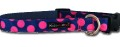 Pink Polka Dots on Blue  - Nylon Dog Collar by Walk-e-Woo