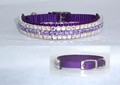 Design Your Own Custom Nylon Collar with 3 Rows of Crystals - Choose Colors of Crystals and Nylon