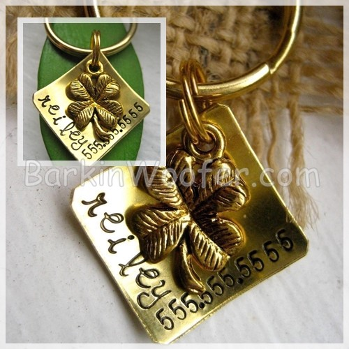 Lucky Charm (small) - Hand-stamped Brass Pet ID Tag with 4 Leaf Clover