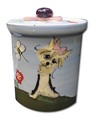 Examples of Handcrafted and Hand Painted Custom Ceramic Dog Treat Jar (Contempo Style)