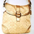 Coach Studded Gold Lurex Flap Duffle Handbag Purse Bag