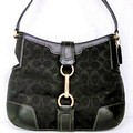 Coach Hamptons Signature Black Hobo Handbag Bag Purse