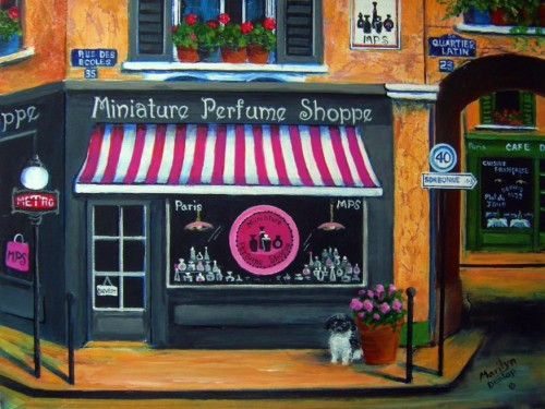 Miniature Perfume Shoppe by Marilyn Dunlap (Digital scan of original acrylic painting)