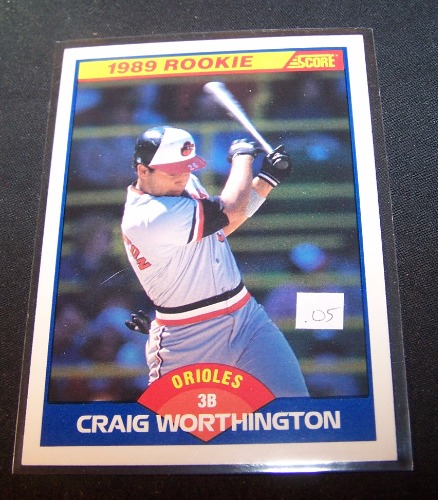John Smoltz 1989 Donruss Rookie Card 642 Atlanta Braves: 1989 Score Rookie Craig Worthington #636 RC Orioles