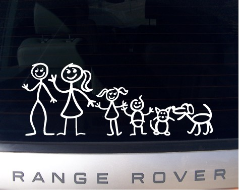 Stick Figure Family Decal Sticker Set 2Family Stickers For Cars Vector